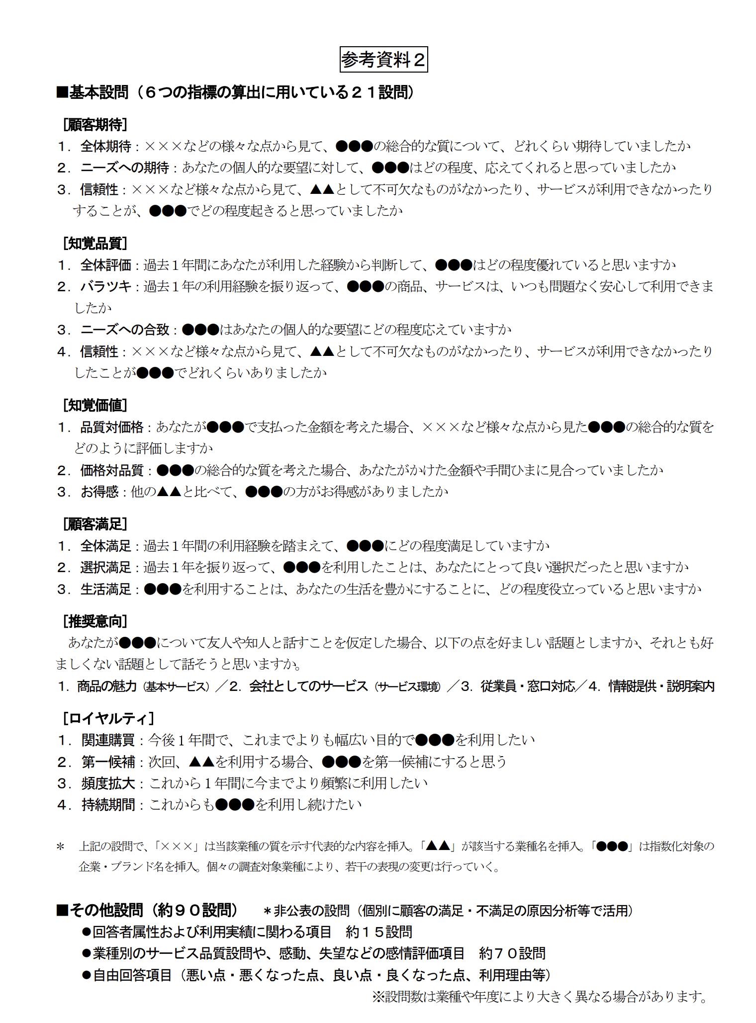 参考資料2■基本設問(6つの指標の算出に用いている21設問)